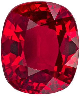 Gorgeous GIA Certified Ruby Genuine Gem, 7.92 x 6.7 x 4.75 mm, Pigeons Blood Red, Cushion Cut, 2.45 carats