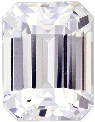 2.46 carats - GIA Certified Diamond Looking Untreated White Sapphire Gemstone in Emerald Cut, Colorless White, 7.9 x 6.2 mm Size