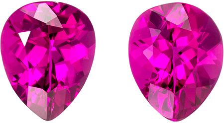 2.47 carats Rubellite Tourmaline 2 Piece Matched Pair in Pear Cut, Magenta Fuchsia, 8 x 6.3 mm