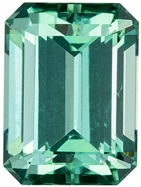 2.48 carats Fiery Blue Green Tourmaline Gemstone in Seafoam Blue Green Color, 8.7 x 6.4 mm Emerald Cut
