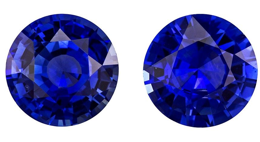 Real Blue Sapphire Gemstones, Round Cut, 2.49 carats, 6.4 mm Matching Pair, AfricaGems Certified - Great for Studs