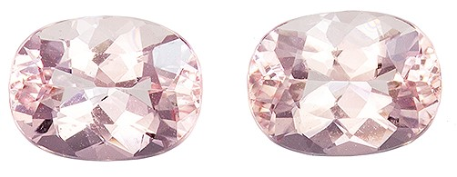 Genuine Pair of Very Pretty Pink Morganite Gemstones, Perfect Match in Oval Cut, 8.0 x 6.0mm Size