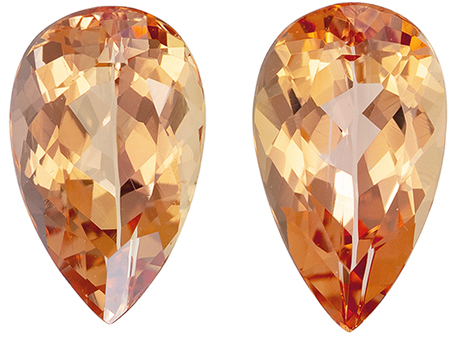 Stunning 2.52 carat Precious Topaz Matched Gemstones in Pear Cut 9 x 5.5 mm