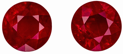 Beautiful Ruby Matched Pair, 6.4 mm, Open Rich Red, Round Cut, 2.52 carats