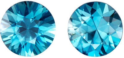 2.55 carats Blue Zircon 2 Piece Matched Pair in Round Cut, Vivid Teal Blue, 6.4 mm