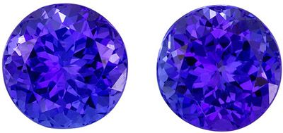 Super Fine 2.58 carats Blue Purple Tanzanite Round Gemstone Pair, 6.2 mm