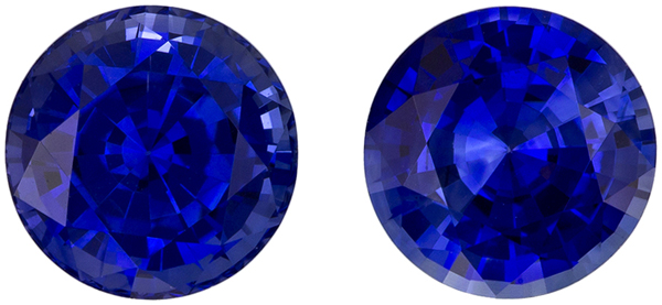 2.59 carats Fine Color Round Blue Sapphire Matched Pair, Intense Rich Blue Color in 6.4 mm Size