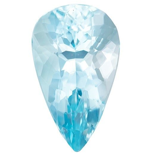 Faceted Aquamarine Gemstone, 2.6 carats, Pear Cut, 12.9 x 7.7 mm, A Low Price