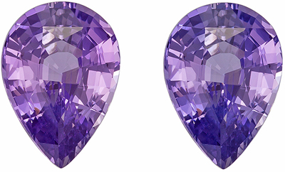 Rare Find in 2.60 carat Matched Purple Sapphire Pair in Pear Cut, GIA No Heat
