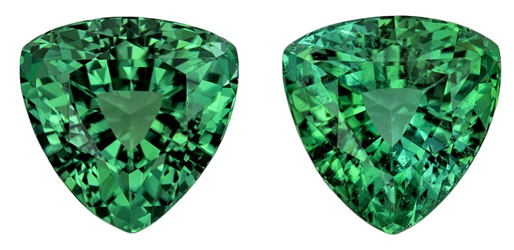 Low Price Blue Green Tourmaline Genuine Gems, 2.62 carats, Trillion Cut, 6.6 mm , Matching Pair