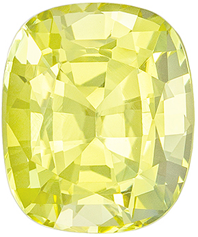 Hard to Find No Treatment Cushion Shape Yellow Sapphire Gem, 2.63 carats, Pure Lemony Yellow, 8.42 x 7.03 x 5.13 mm, GIA Certified