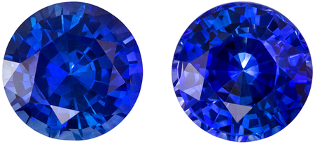Super Fine Gem 2.64 carats Sapphire Genuine Gemstone Pair in Round Cut, Rich Blue, 6.4 mm