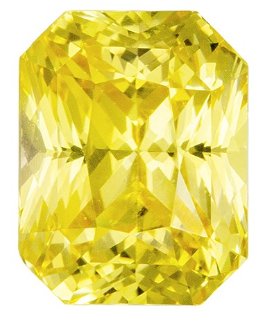 Loose Gemstone Yellow Sapphire GIA Gemstone 2.64 carats, Radiant Cut, 8.07 x 6.3 x 5.29 mm - No Heat