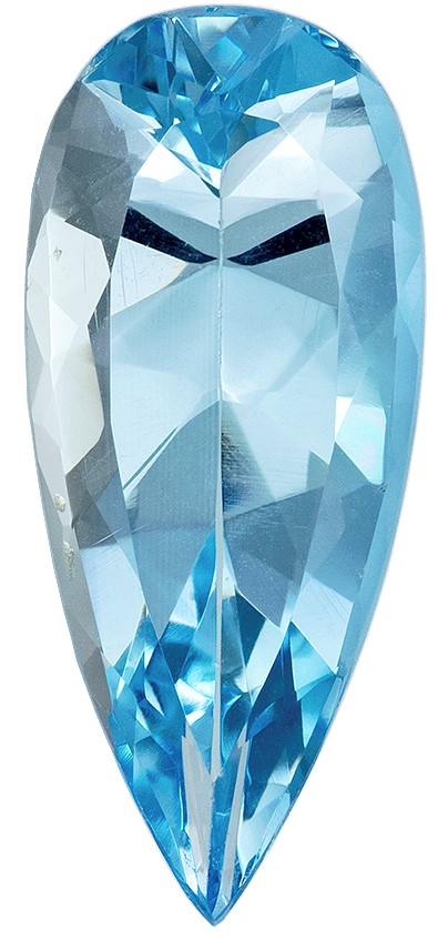Stunning Blue Aquamarine Loose Gemstone, 2.68 carats, Pear Cut, 15.8 x 6.9  mm , High Quality - Low Cost Gem