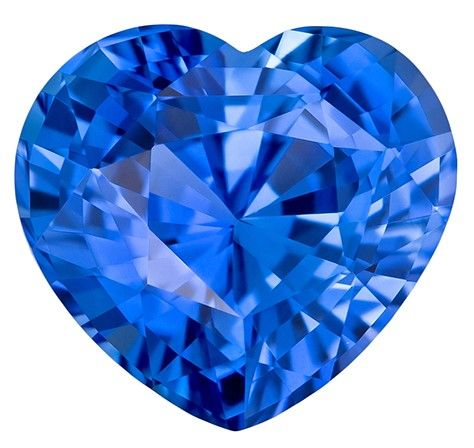 Natural Blue Sapphire Gemstone, 2.68 carats, Heart Cut, 8.4 x 7.8 mm, Low Low Price