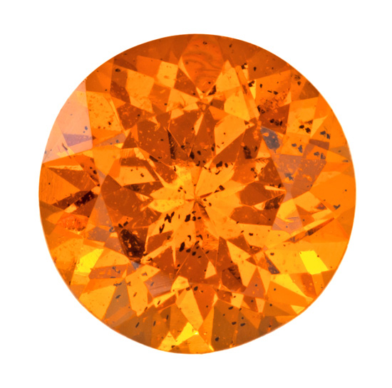 2.69 carats Orange Spessartite Loose Gemstone in Round Cut, Open Medium Orange, 8.3 mm
