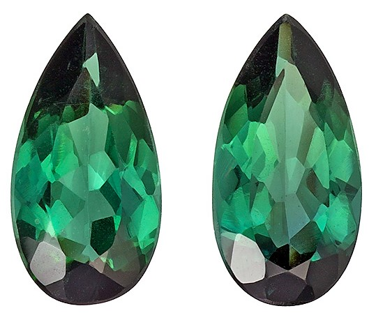 2.73 carats Blue Green Tourmaline 2 Piece Matched Pair in Pear Cut, Medium Blue Green, 11.3 x 5.8 mm