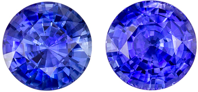 Super Sapphire Gem Pair, 6.5 mm, Medium Rich Blue, Round Cut, 2.74 carats