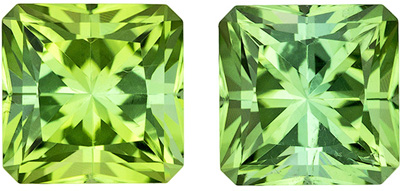 Neon Like Mint Green Tourmaline Pair in 2.77 carats, 6.0mm Size Radiant Cut