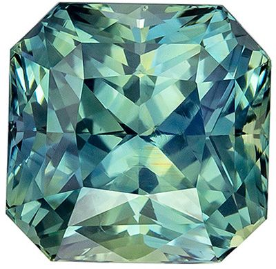 Bright & Lively GIA Certified Unheated Sapphire Gemstone 2.79 carats, Radiant Cut, Vivid Teal Blue Green, 7.17 x 7.09 x 5.76 mm