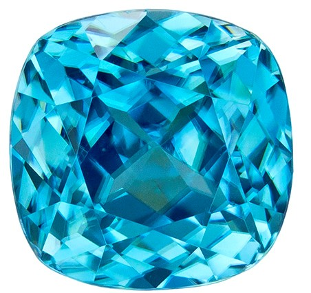 2.81 carats Blue Zircon Loose Gemstone in Cushion Cut, Vivid Rich Blue, 6.8 mm