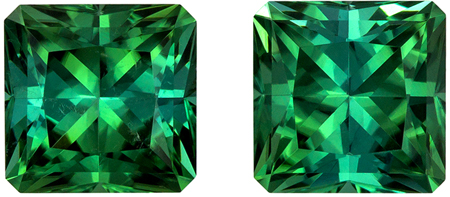 Beautiful Radiant Blue Green Tourmaline Pair in 2.82 carats in 6.3  mm