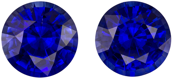 2.83 carats Ceylon Pair of Blue Sapphire in Vivid Rich Blue, 7.0 mm Size Rounds