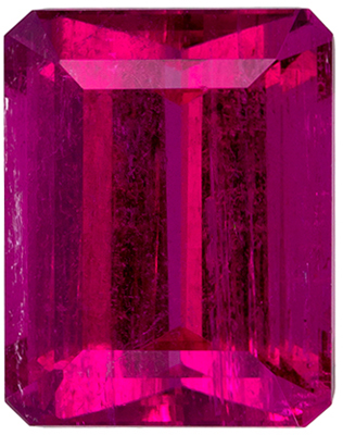2.87 carats Rubellite Tourmaline Loose Gemstone in Emerald Cut, Fuchsia Red, 9 x 7.1 mm