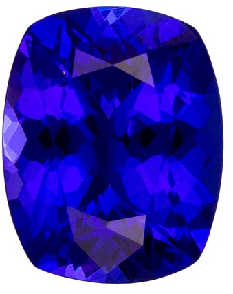2.87 carats Tanzanite Loose Gemstone in Cushion Cut, Vivid Blue Purple, 10 x 8 mm