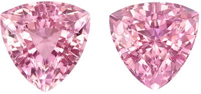 Natural Loose 2.92 carats Pink Tourmaline Trillion Gemstone Pair, 7.2 mm