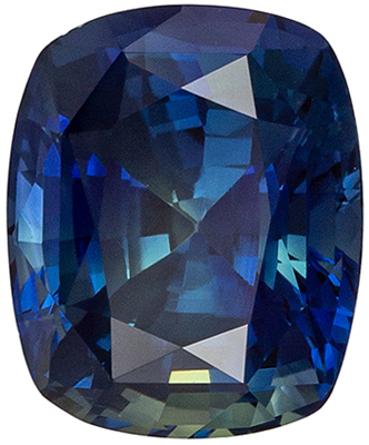 Very Bright Untreated Cushion Cut Blue Green Sapphire Loose Gem, 8.72 x 7.2 x 5.52 mm, Rich Teal Blue Green, 2.99 carats, GIA Certified