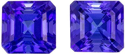 Stunning 2 carats Blue Purple Tanzanite Square Gemstone Pair, 5.5 x 5.5 mm