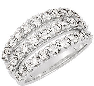 2 Carats of Diamonds! - Fantastic Triple Band Split Shank Ring in 14k White Gold With Three Lines of Diamonds - SOLD