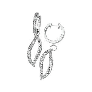 2-in-1 White Gold 1.5 ct Diamond Studded Charm Earrings with Huggies Closure