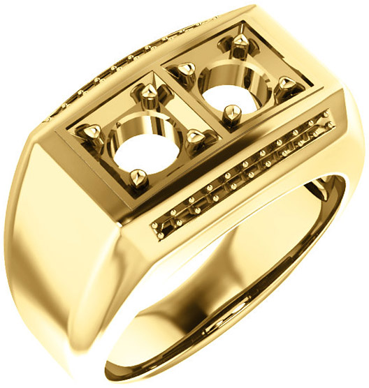 2-Stone Accented Men's Ring Mounting for Round Shape Centergem Sized 2.00 mm to 6.00 mm - Customize Metal, Accents or Gem Type