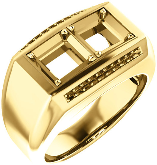 2-Stone Accented Men's Ring Mounting for Square Shape Centergem Sized 2.00 mm to 6.00 mm - Customize Metal, Accents or Gem Type