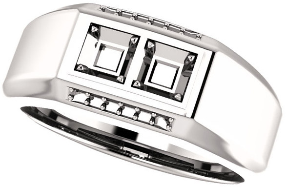 2Stone Accented Men's Ring Mounting for Square Gemstone Size 2mm to 6mm