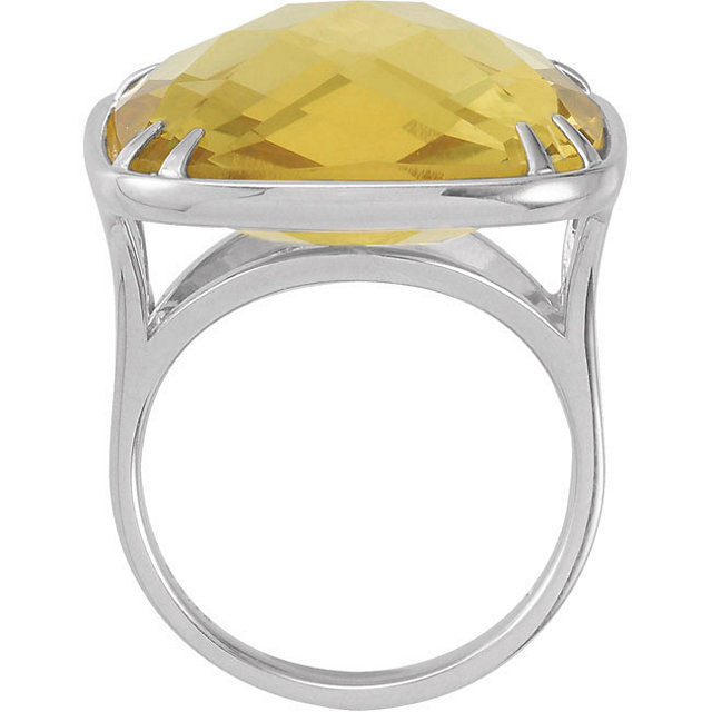 20mm Double Sided Checkerboard Lemon Quartz Ring