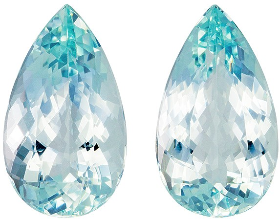 21.92 carats Aquamarine 2 Piece Matched Pair in Pear Cut, Medium Light Blue, 20.9 x 12.1 mm