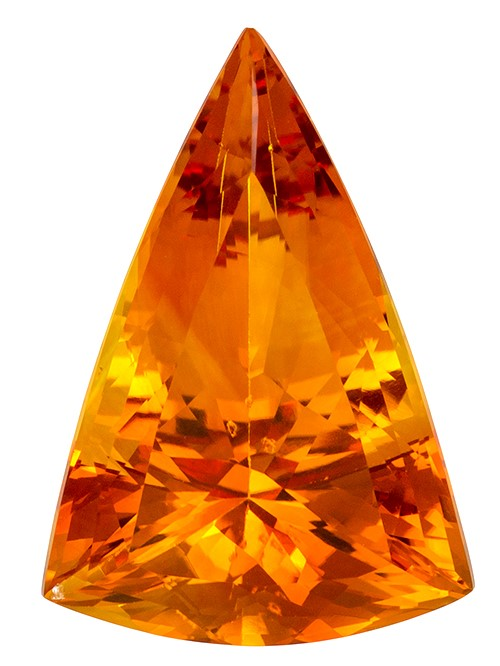 22.5 x 15.3 mm Citrine Genuine Gemstone in Fancy Cut, Golden Orange, 13.12 carats