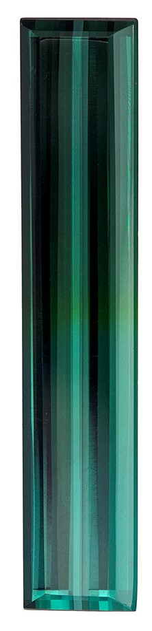 25 x 5.6 mm Blue Green Tourmaline Genuine Gemstone in Emerald Cut, Vivid Blue Green, 5.51 carats