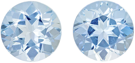 3.01 carats Aquamarine 2 Piece Matched Pair in Round Cut, Vivid Blue, 7.5 mm