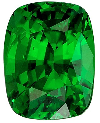 Exquisite Green Tsavorite Garnet 3.02 carats, Cushion shape gemstone, 8.7 x 6.7  mm