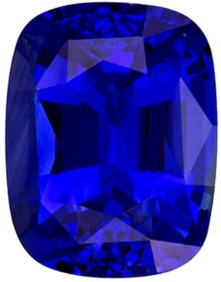 Fiery 3.05 carat Blue Sapphire Gemstone in Cushion Cut 8.9 x 6.9 mm
