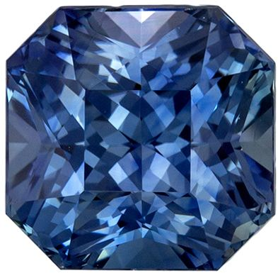 Very Desired Blue Green Sapphire Genuine Gem Radiant Cut, Vivid Teal Blue, 7.6 x 7.5 mm, 3.06 carats