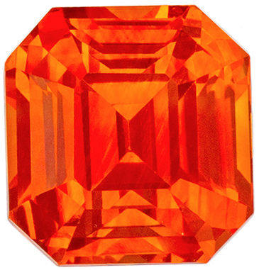 Crazy Intense Orange Colored Sapphire GIA Certified 3.06 carats Emerald Cut