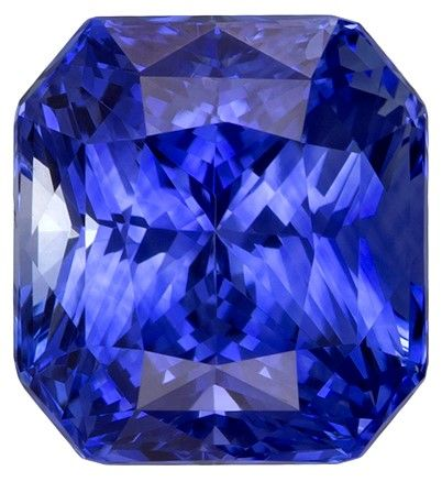 Authentic Blue Sapphire Gemstone, Radiant Cut, 3.07 carats, 7.8 x 7.2 mm , AfricaGems Certified - A Unique Beauty