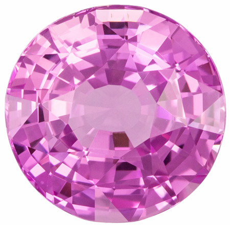3.07 carats Pink Sapphire Loose Gemstone in Round Cut, Vivid Medium Pink, 8.7 mm