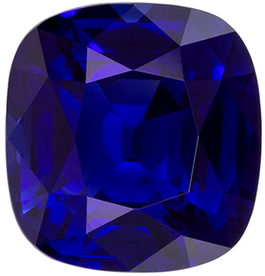 Impressive Fine Unheated Cushion Cut Blue Sapphire Gemstone, 8.59 x 8.12 x 5.11 mm, Rich Royal Blue Color, 3.12 carats, GRS Certified