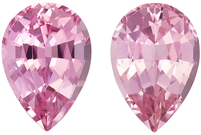 Fine Quality 3.12 carats Pink Tourmaline Pear Gemstone Pair, 9 x 6.2 mm